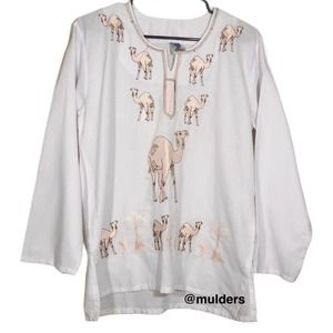 Vintage White Embroidered Camel Blouse